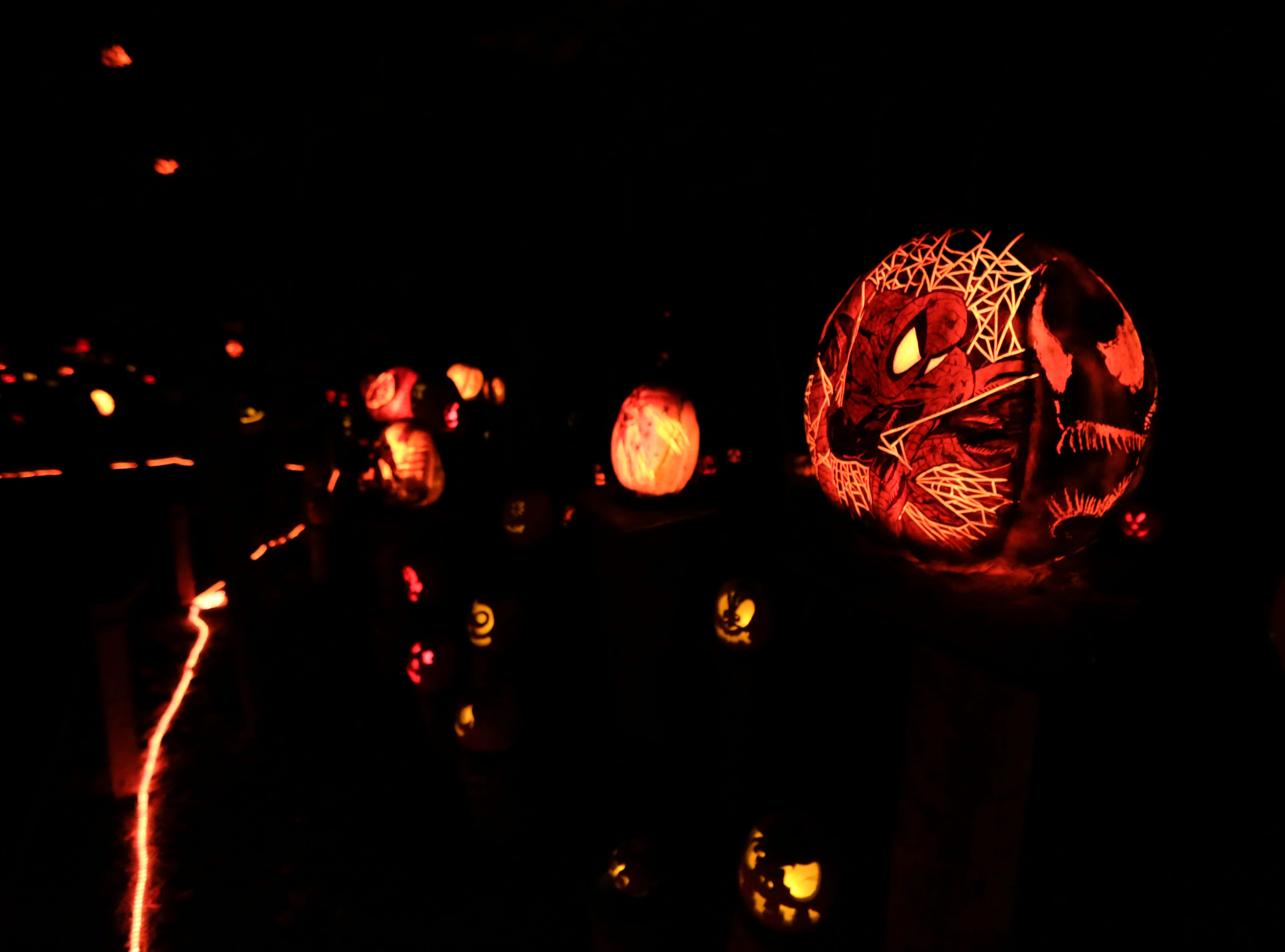 Spiderman appears on a pumpkin at this year's Jack O' Lantern Spectacular. Oct. 9, 2018
