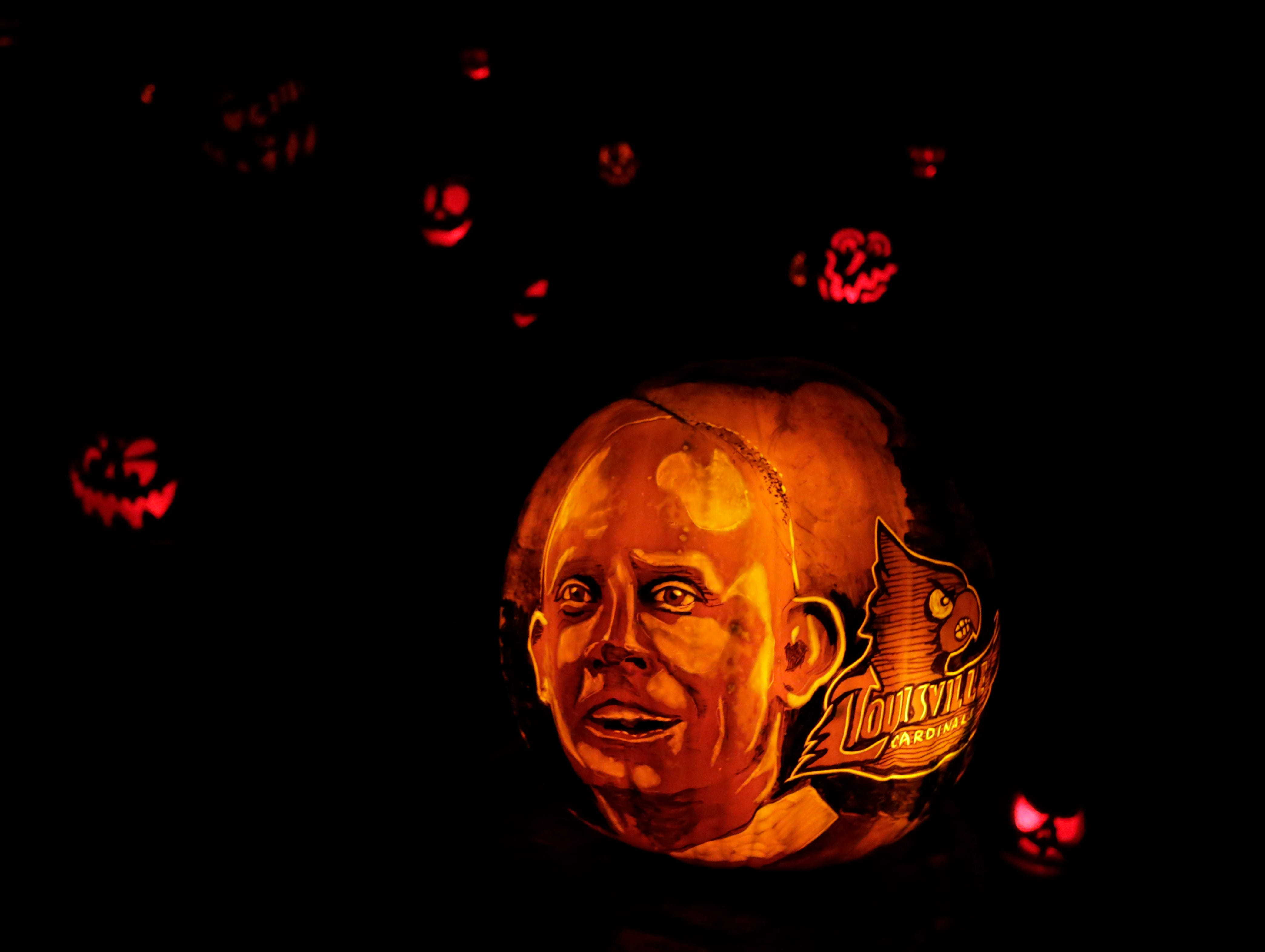 Louisville's new basketball coach Chris Mack appears on a pumpkin at this year's Jack O' Lantern Spectacular. Oct. 9, 2018