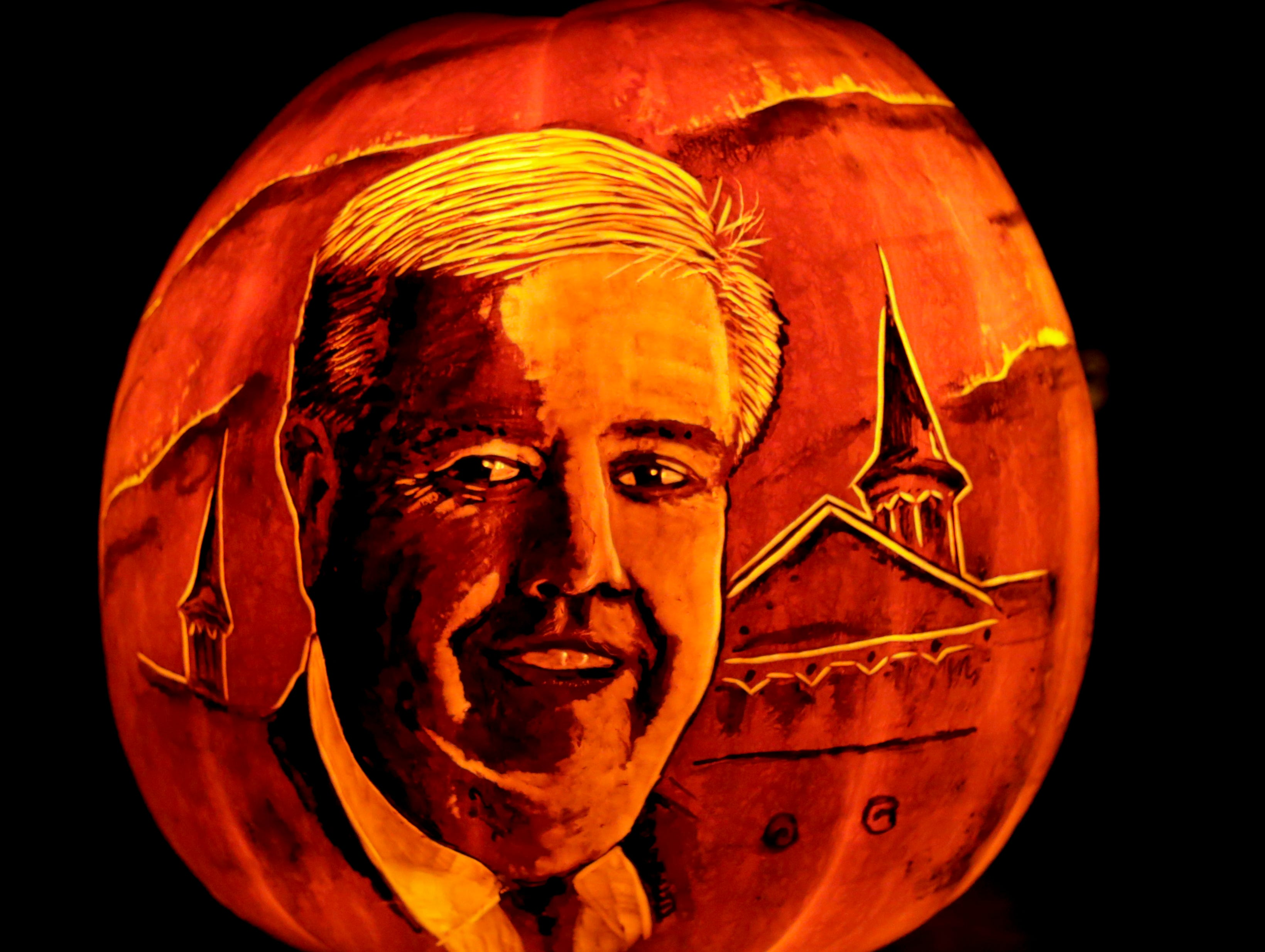 The late, great John Asher appears on a pumpkin at this year's Jack O' Lantern Spectacular. Oct. 9, 2018