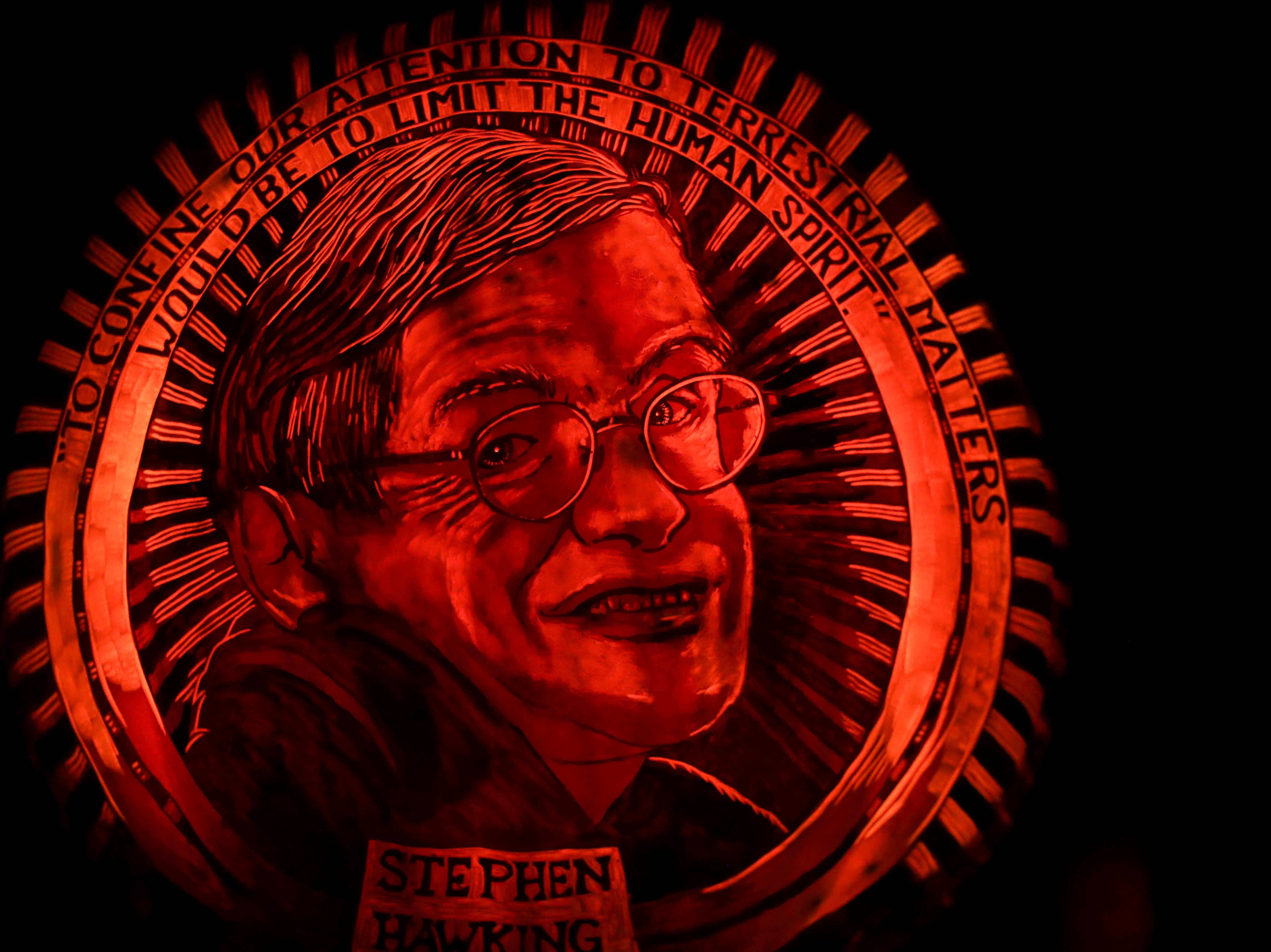 Stephen Hawking appears on a pumpkin at this year's Jack O' Lantern Spectacular. Oct. 9, 2018