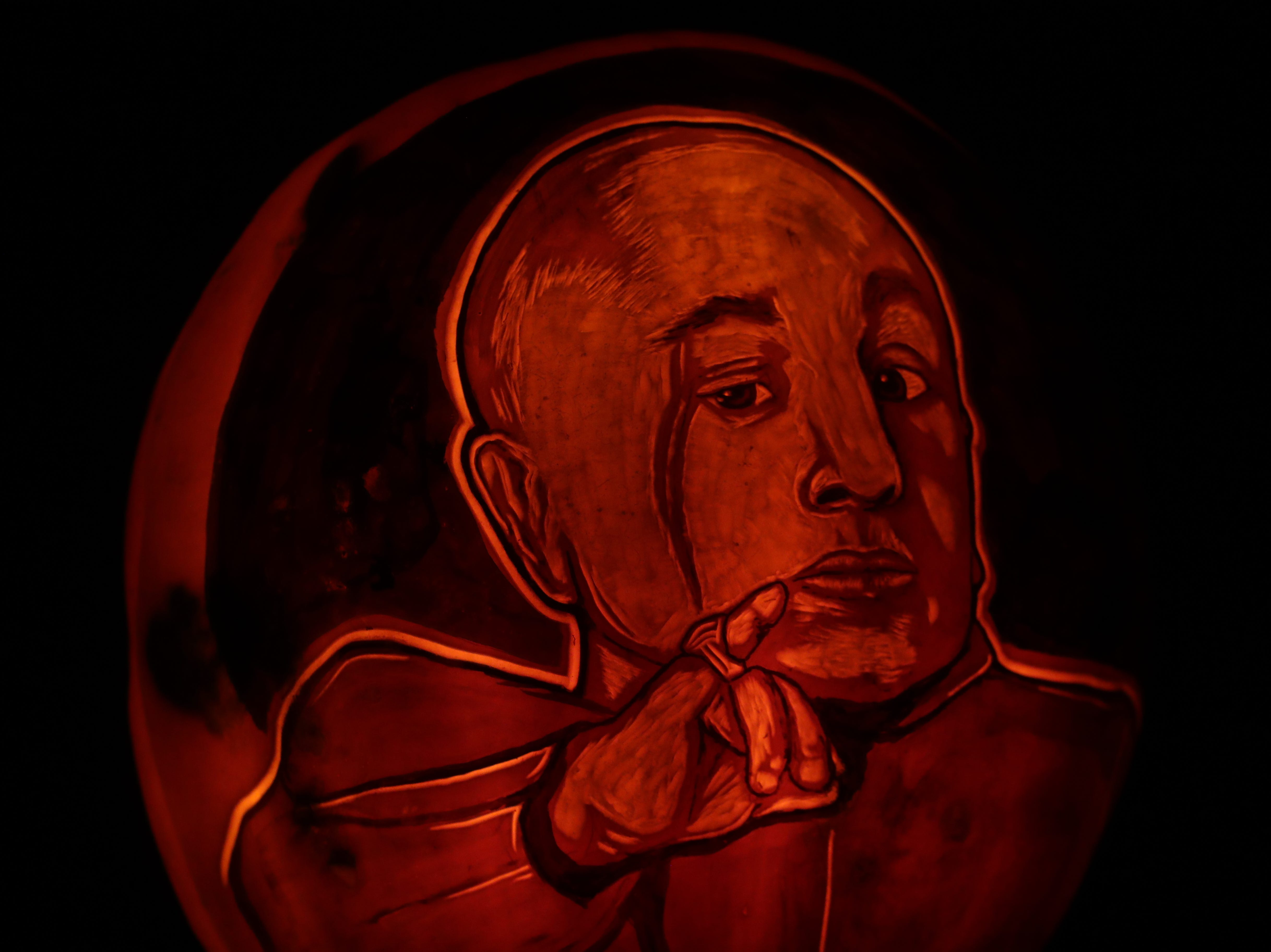 Verne Troyer appears on a pumpkin at this year's Jack O' Lantern Spectacular. Oct. 9, 2018