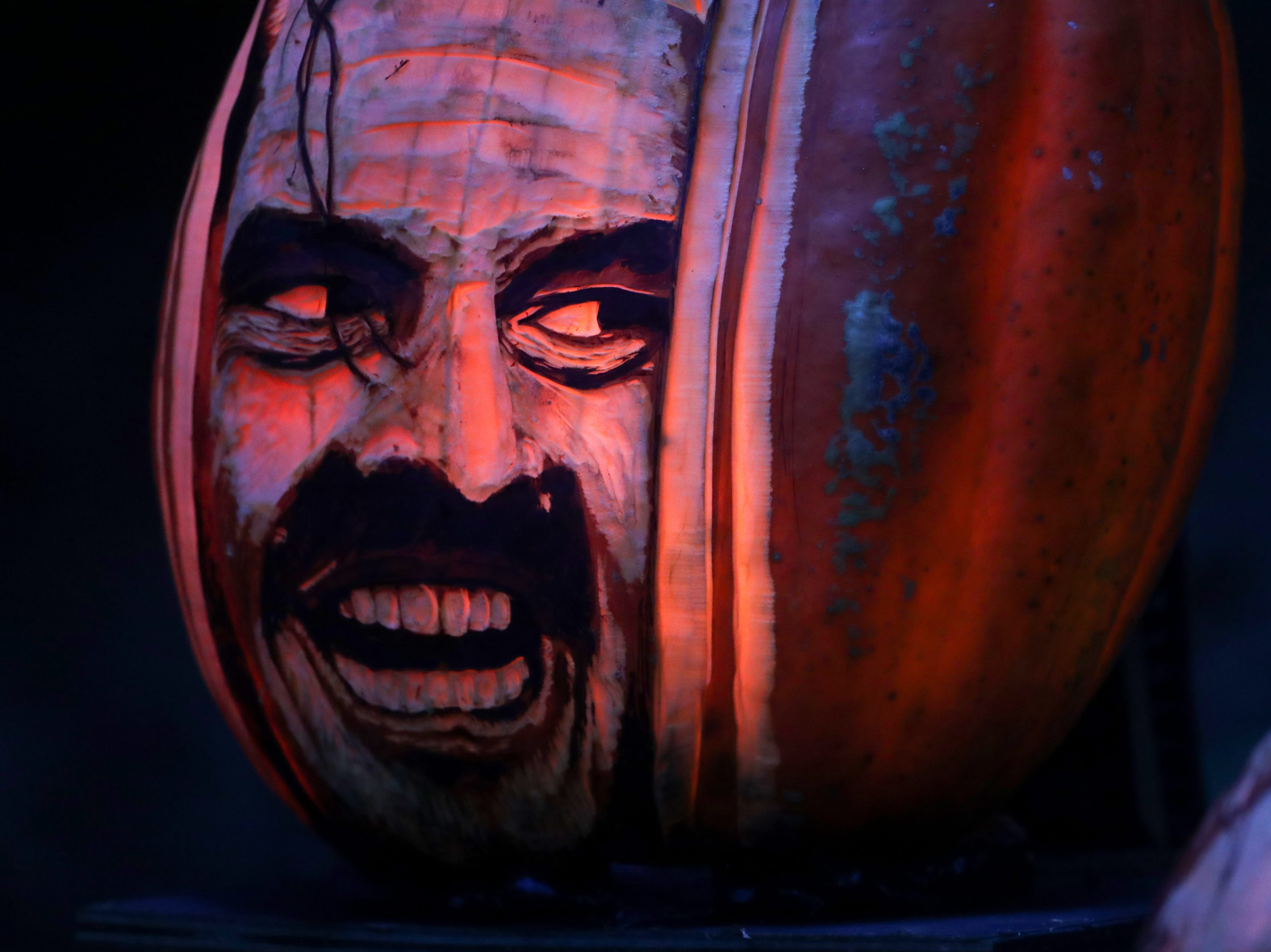 A scene from the Shinning appears on a pumpkin at this year's Jack O' Lantern Spectacular. Oct. 9, 2018