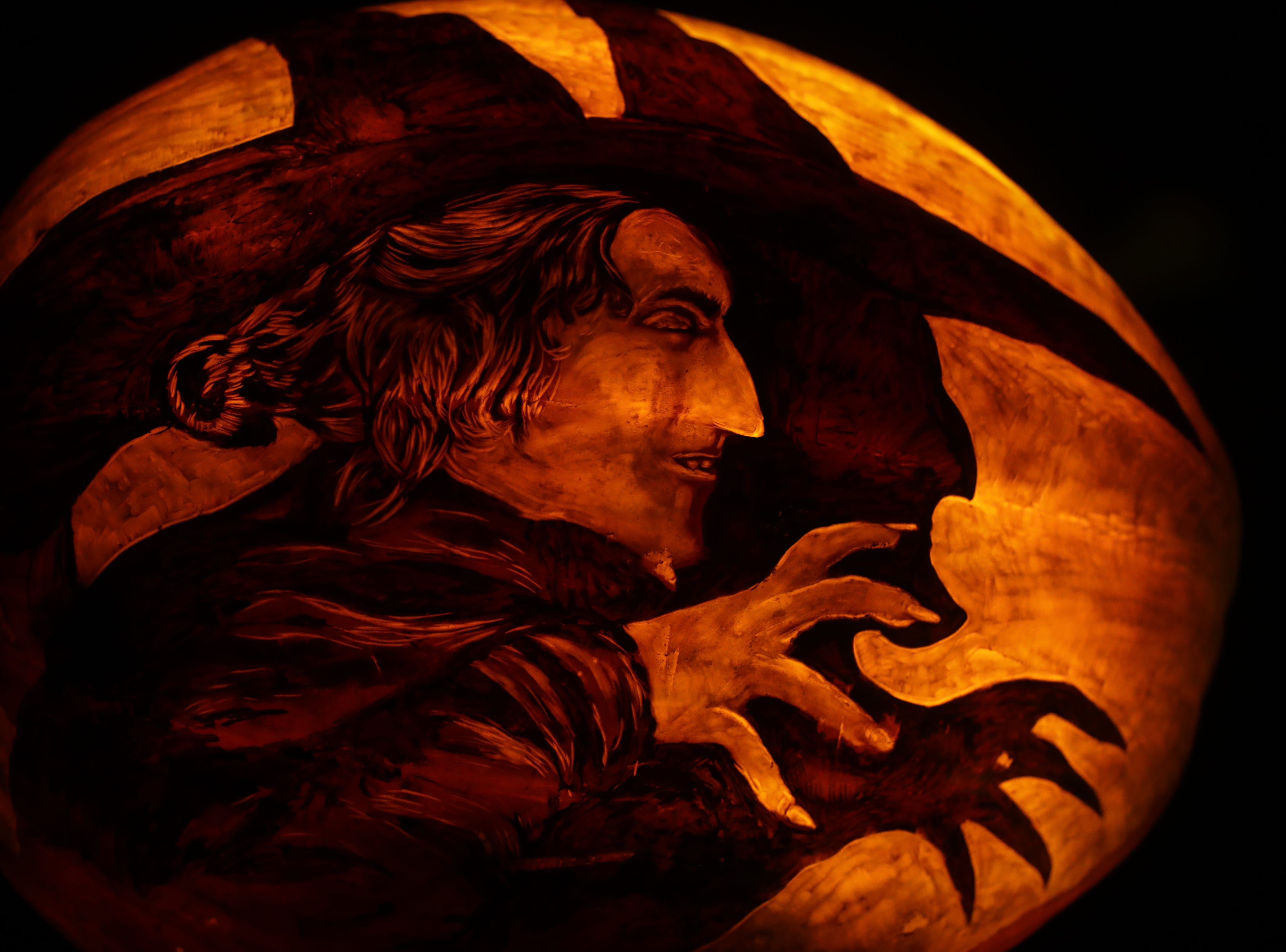 The wicked witch from the Wizard of Oz appears on a pumpkin at this year's Jack O' Lantern Spectacular. Oct. 9, 2018