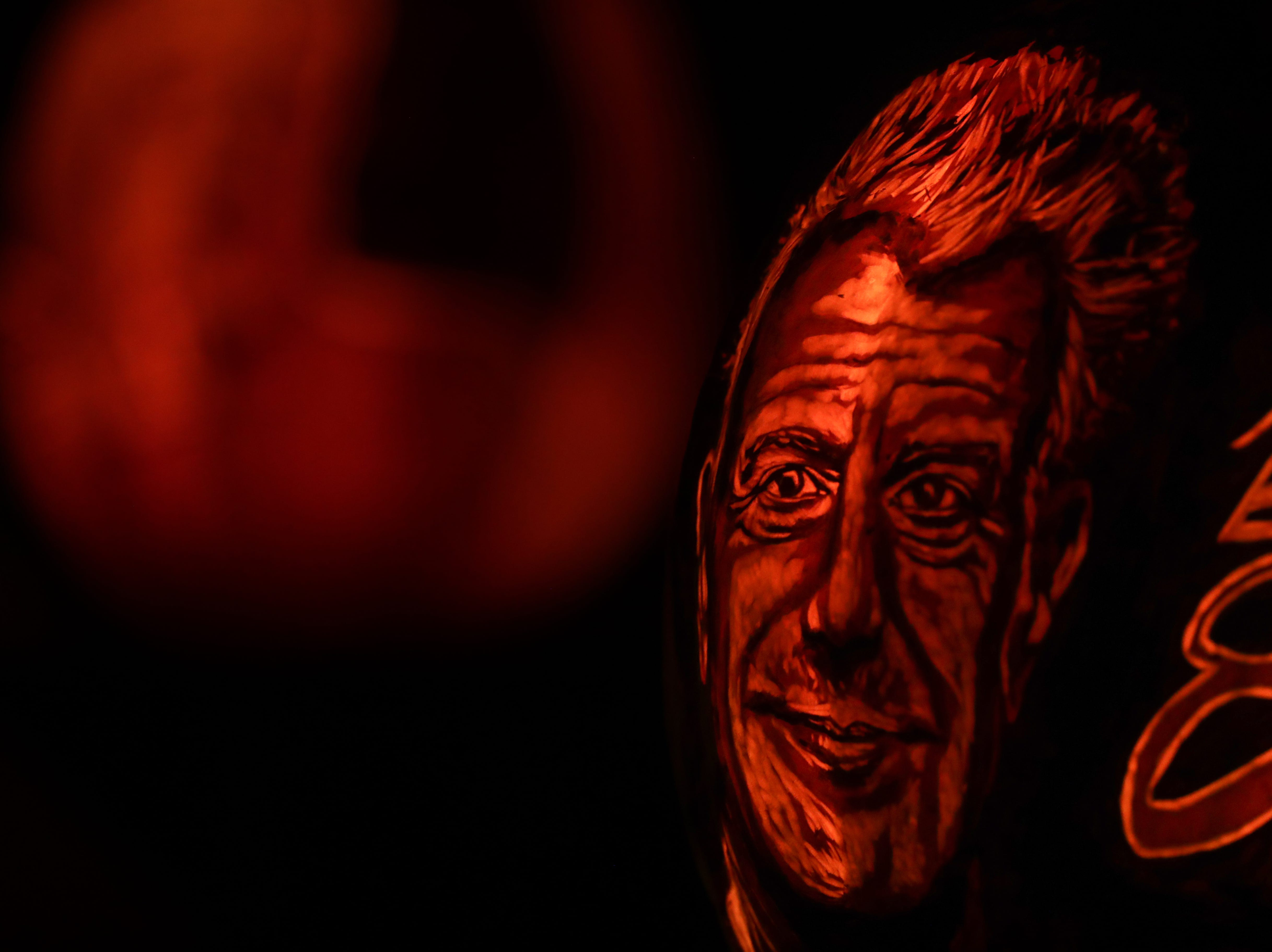 Anthony Bourdain appears on a pumpkin at this year's Jack O' Lantern Spectacular.  Oct. 9, 2018