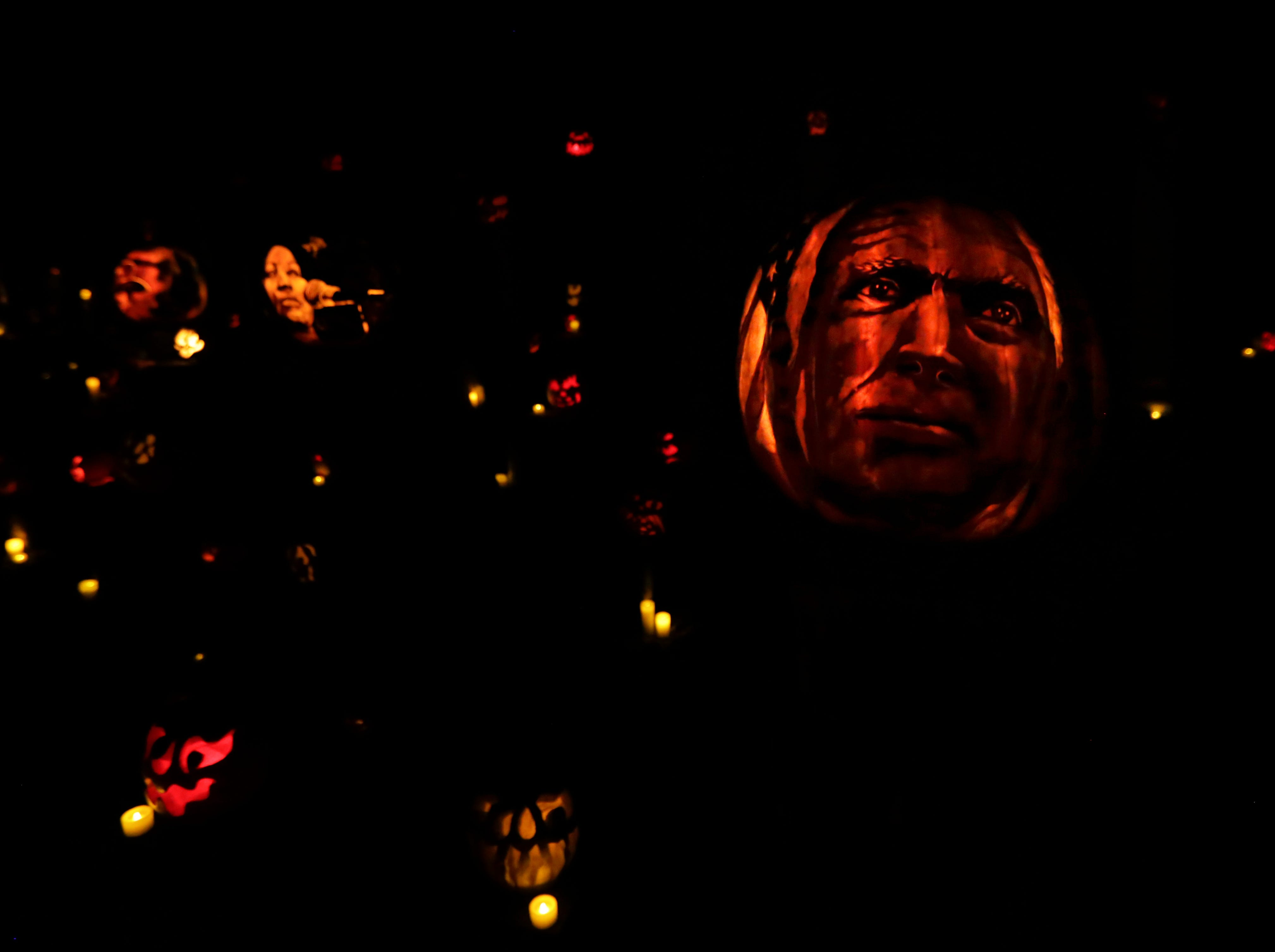 John McCain appears on a pumpkin at this year's Jack O' Lantern Spectacular. Oct. 9, 2018