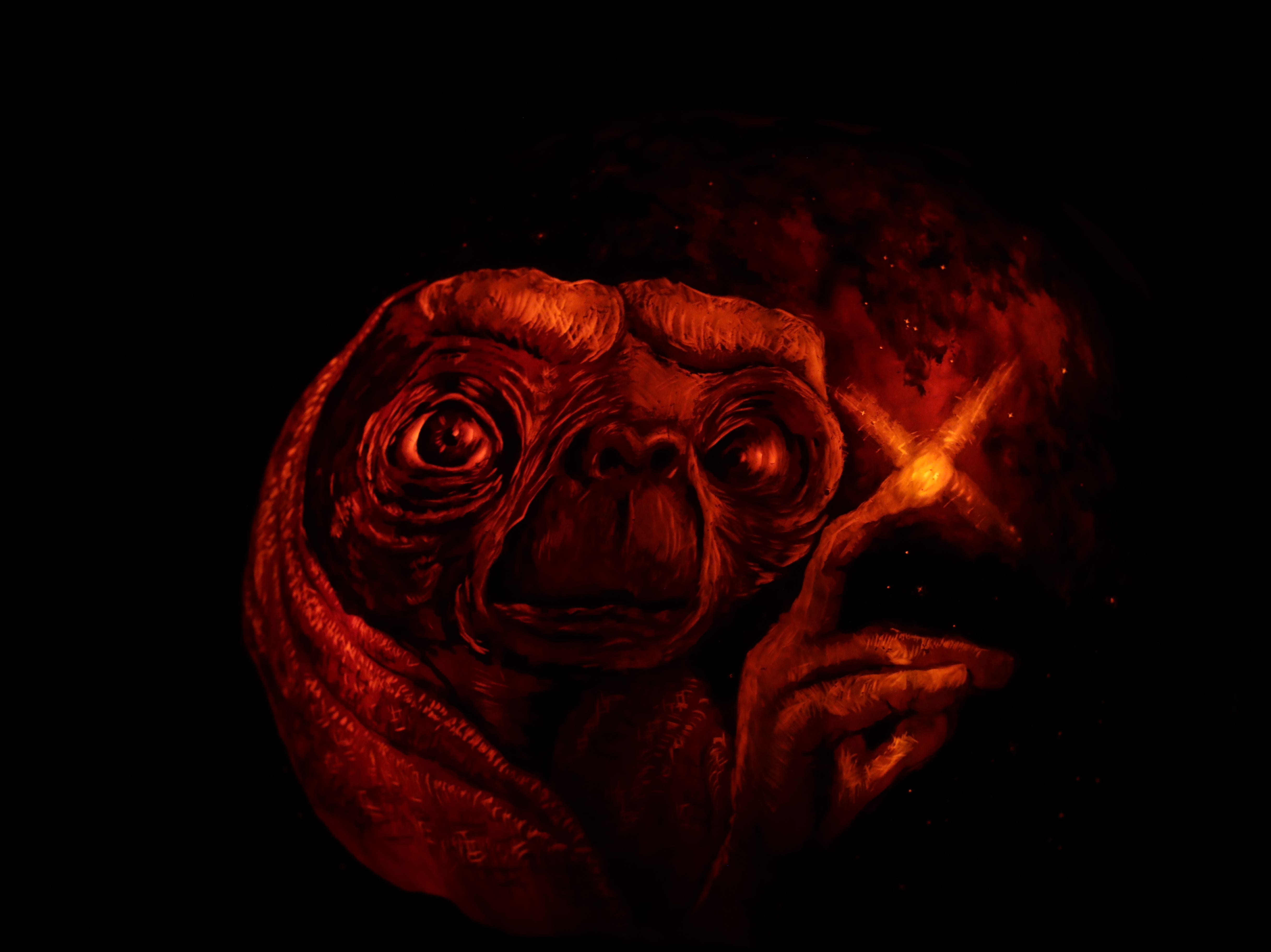 E.T. appears on a pumpkin at this year's Jack O' Lantern Spectacular. Oct. 9, 2018