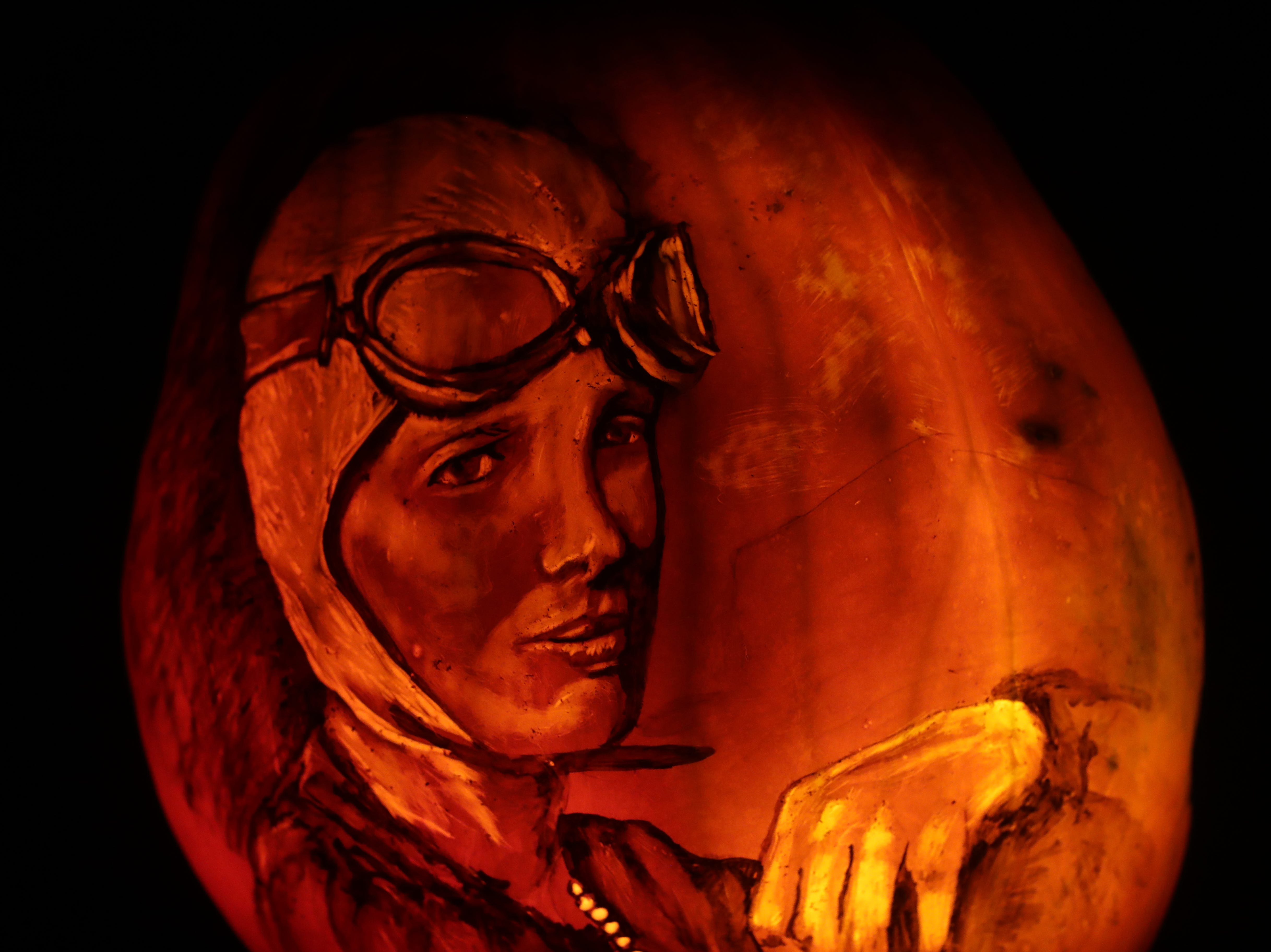 Amelia Earhart appears on a pumpkin at this year's Jack O' Lantern Spectacular. Oct. 9, 2018