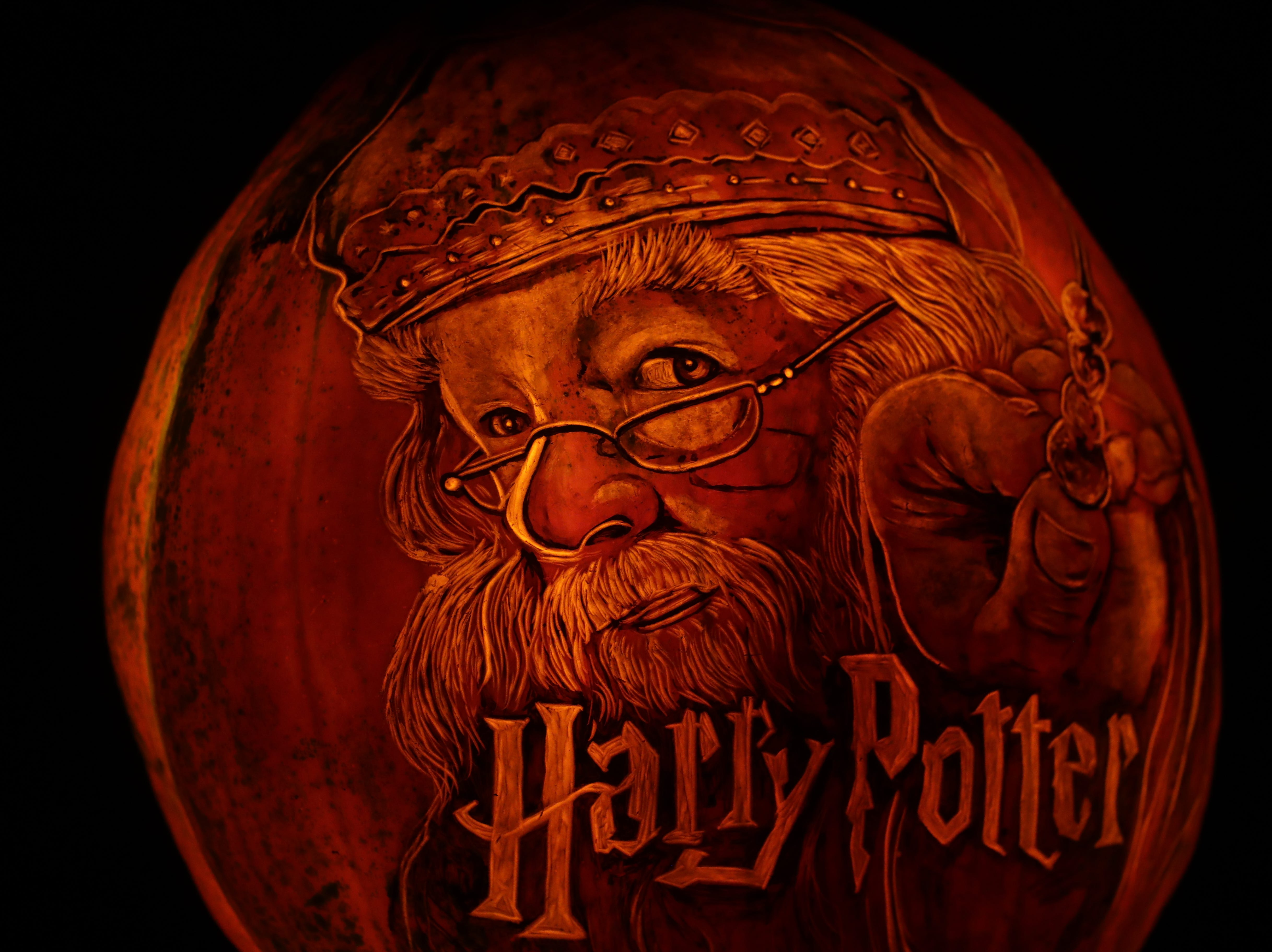 Professor Dumbledore from Harry Potter appears on a pumpkin at this year's Jack O' Lantern Spectacular. Oct. 9, 2018