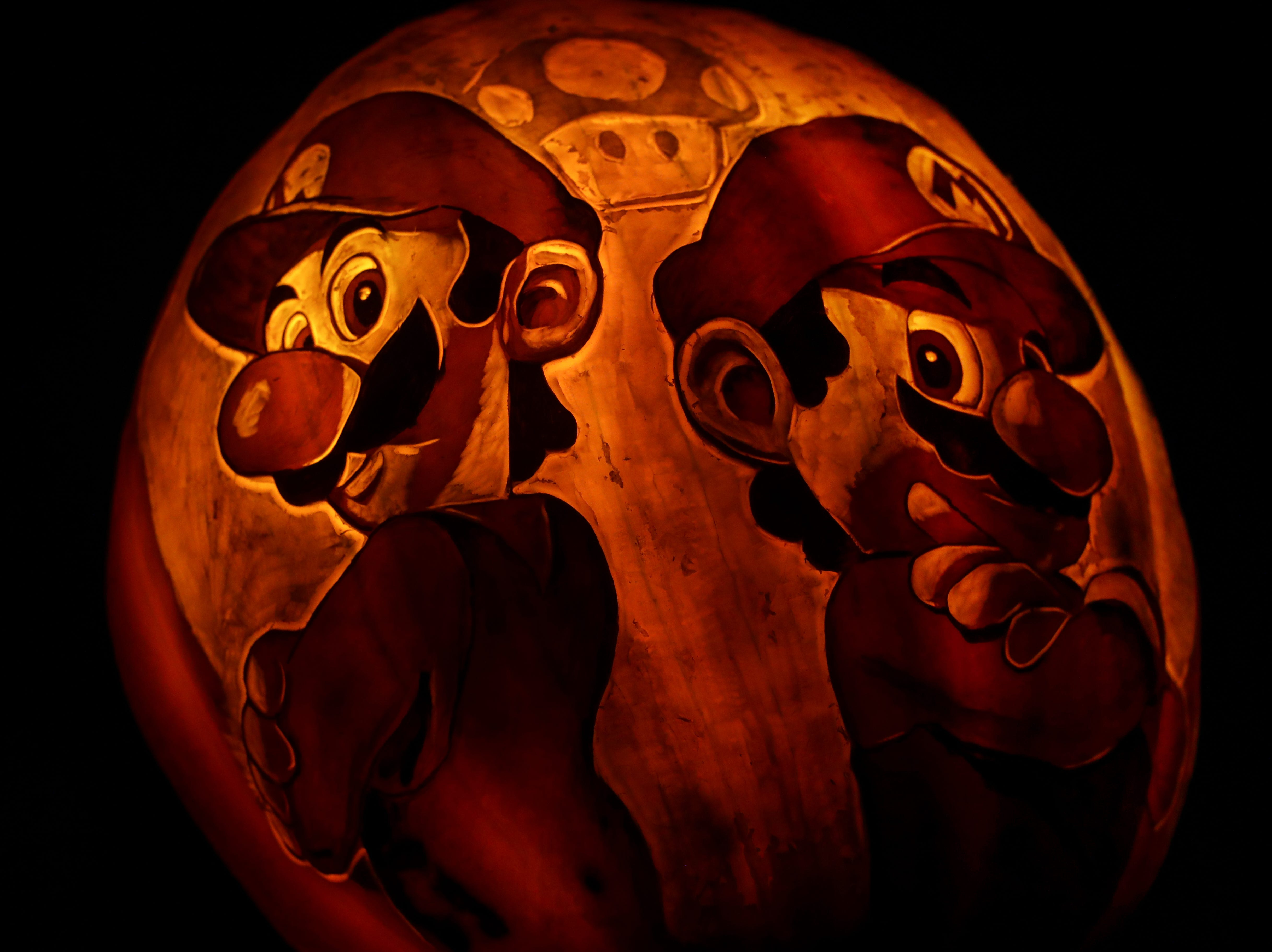 The Mario Brothers appear on a pumpkin at this year's Jack O' Lantern Spectacular. Oct. 9, 2018
