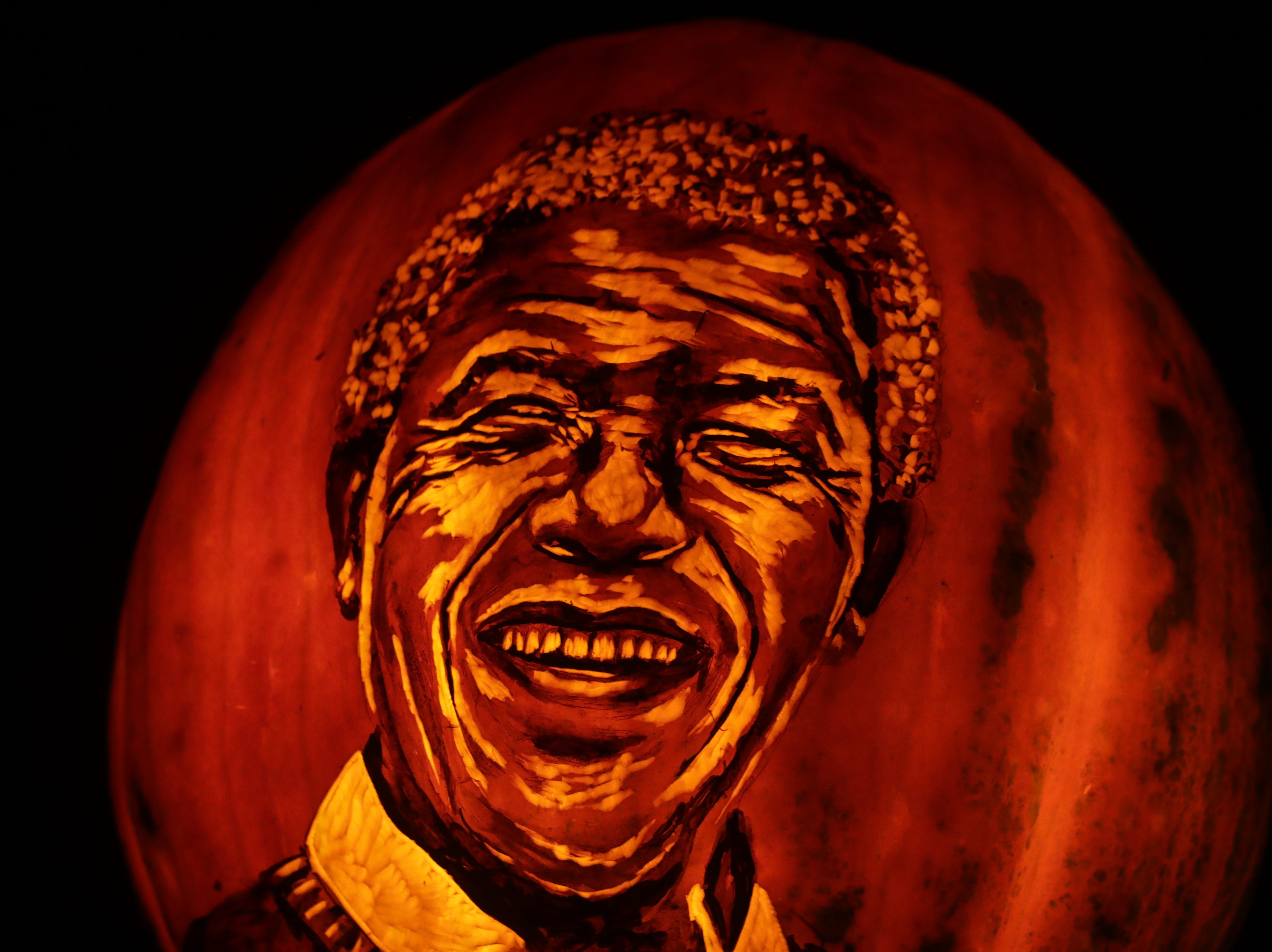 Nelson Mandela appears on a pumpkin at this year's Jack O' Lantern Spectacular. Oct. 9, 2018