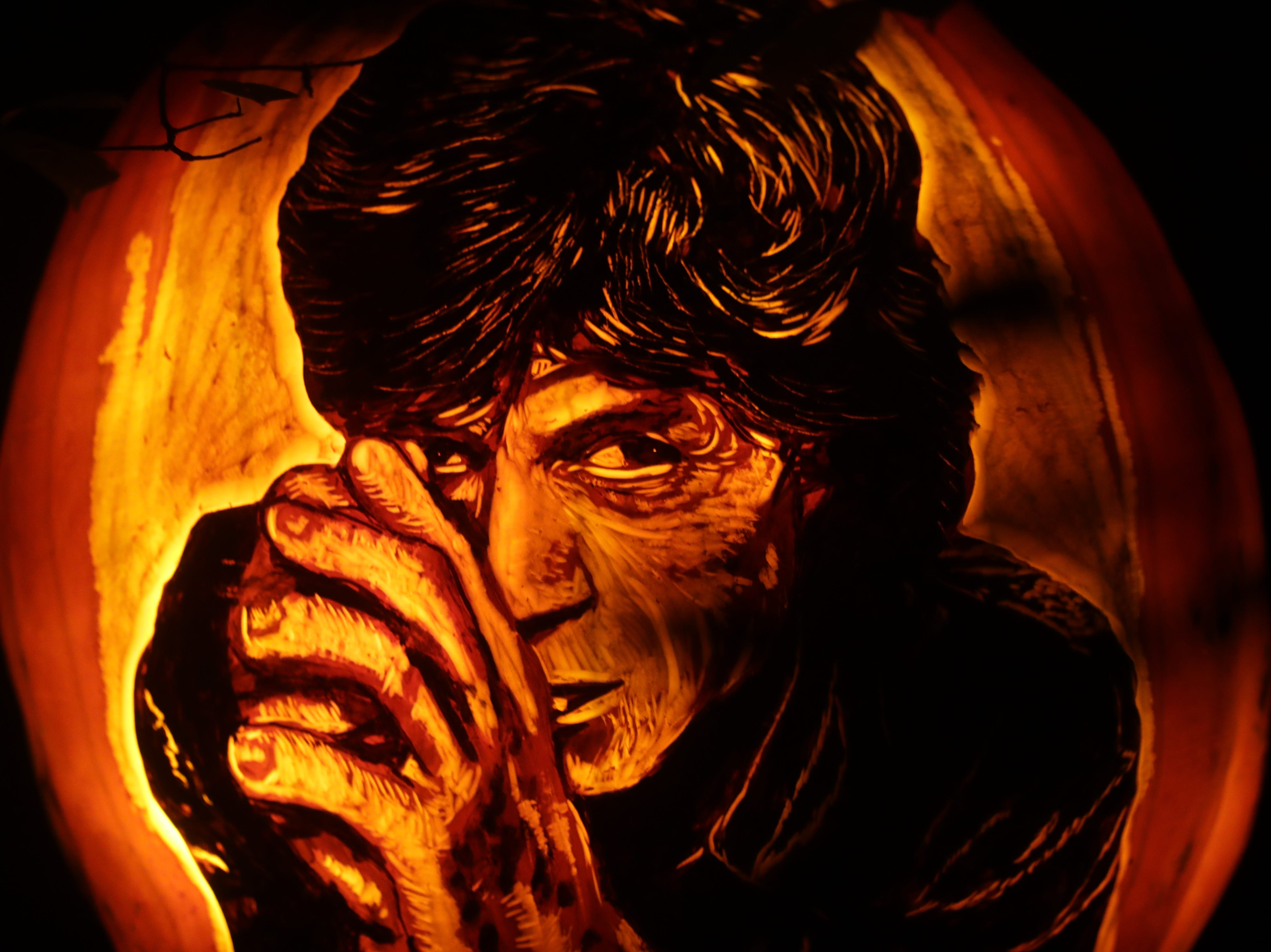 Mick Jagger appears on a pumpkin at this year's Jack O' Lantern Spectacular. Oct. 9, 2018