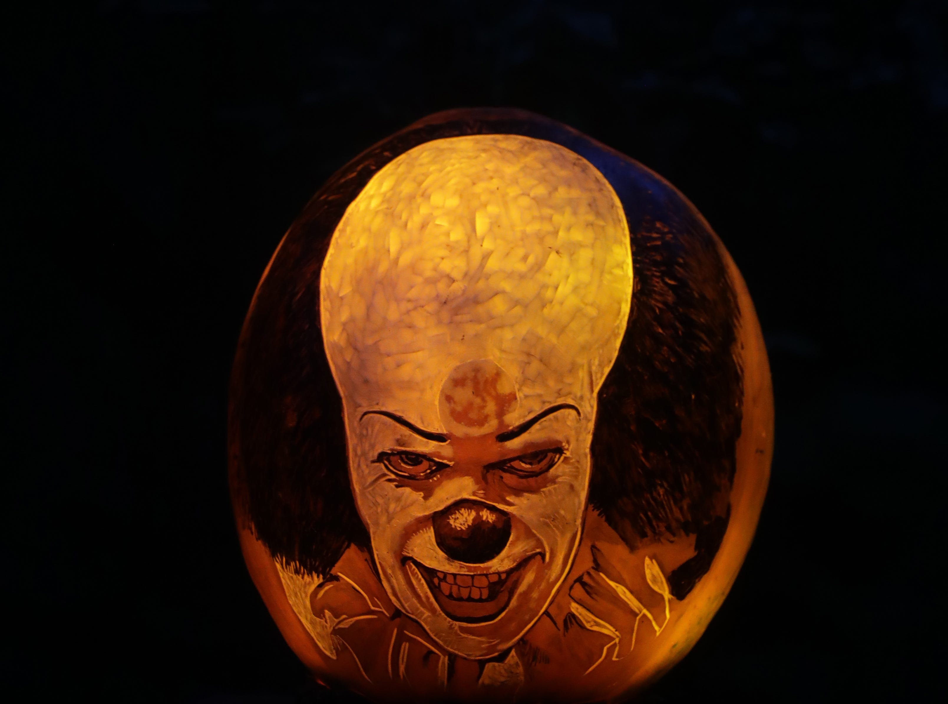 It appears on a pumpkin in the Stephen King section of this year's Jack O' Lantern Spectacular. Oct. 9, 2018