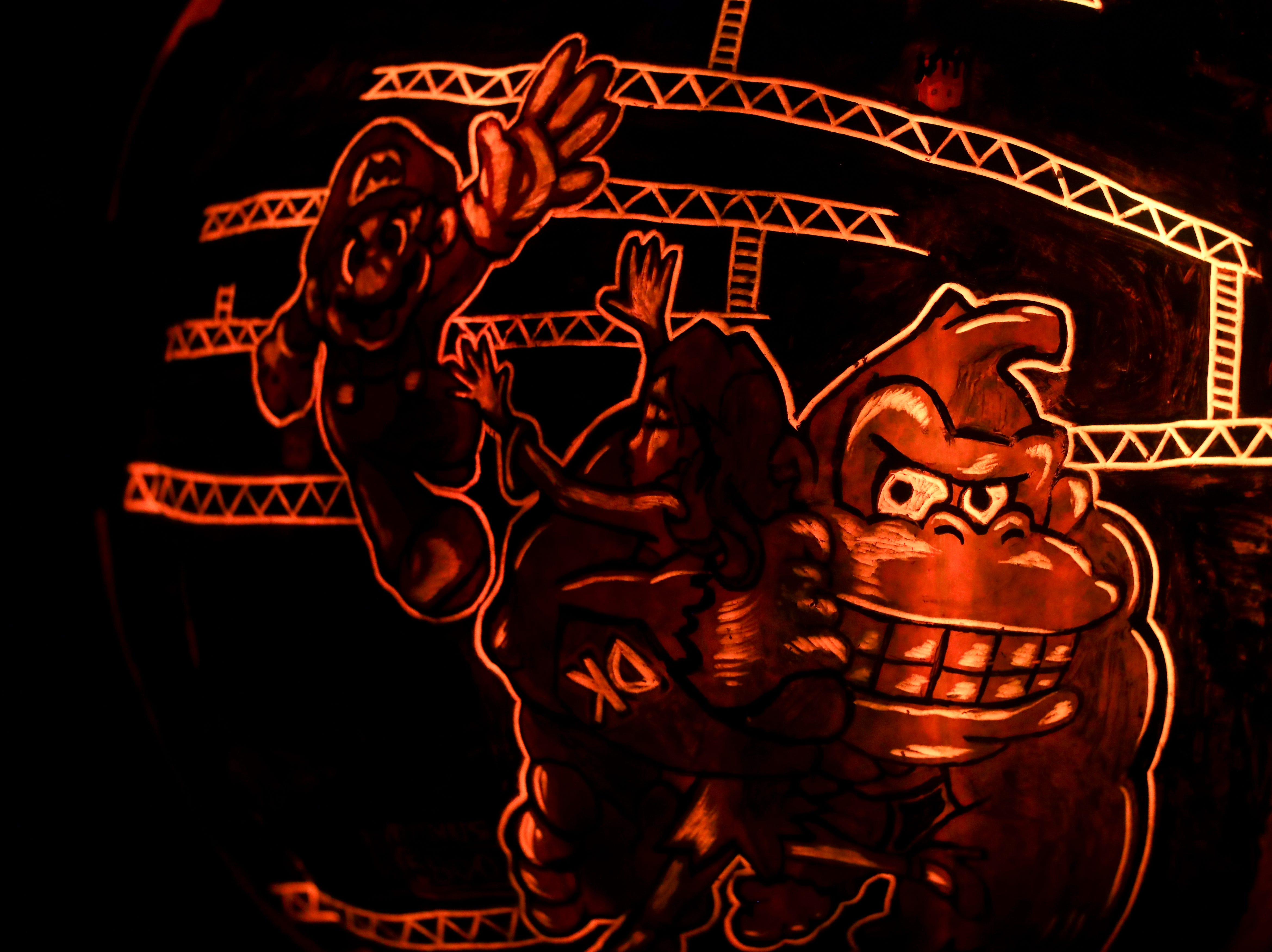 Donkey Kong appears on a pumpkin at this year's Jack O' Lantern Spectacular. Oct. 9, 2018