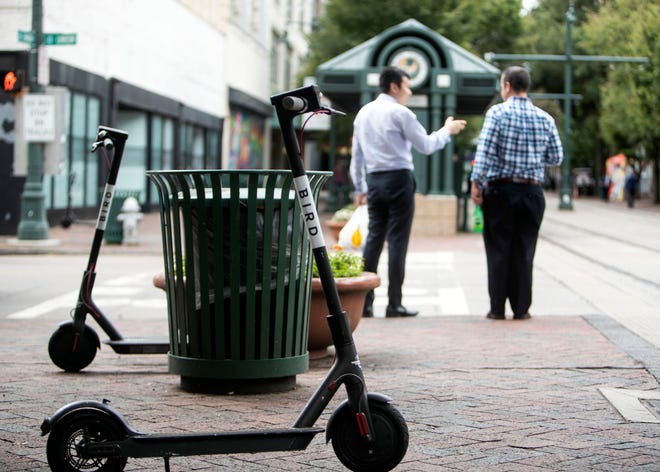 The Bird's electric pedal scooter can be unlocked via app and can be turned off anywhere. In Downtown Memphis locals and tourists can be ridding Bird scooters up and down the streets.