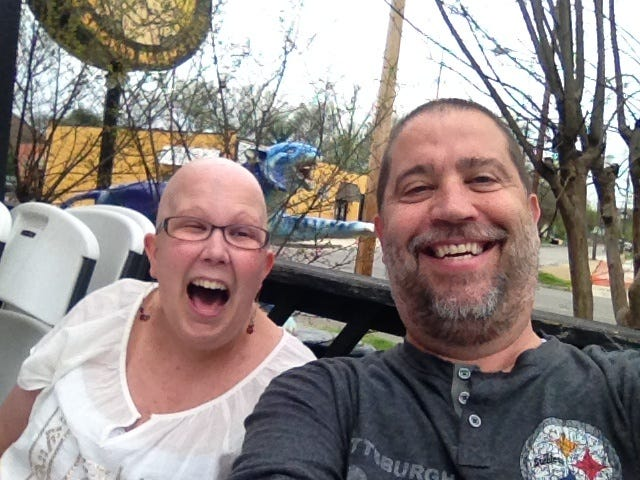 A selfie with Keesha Furniss and her dad, Bob Furniss, at Central BBQ in 2014.