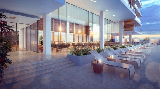 Lanai rooftop restaurant rendering.