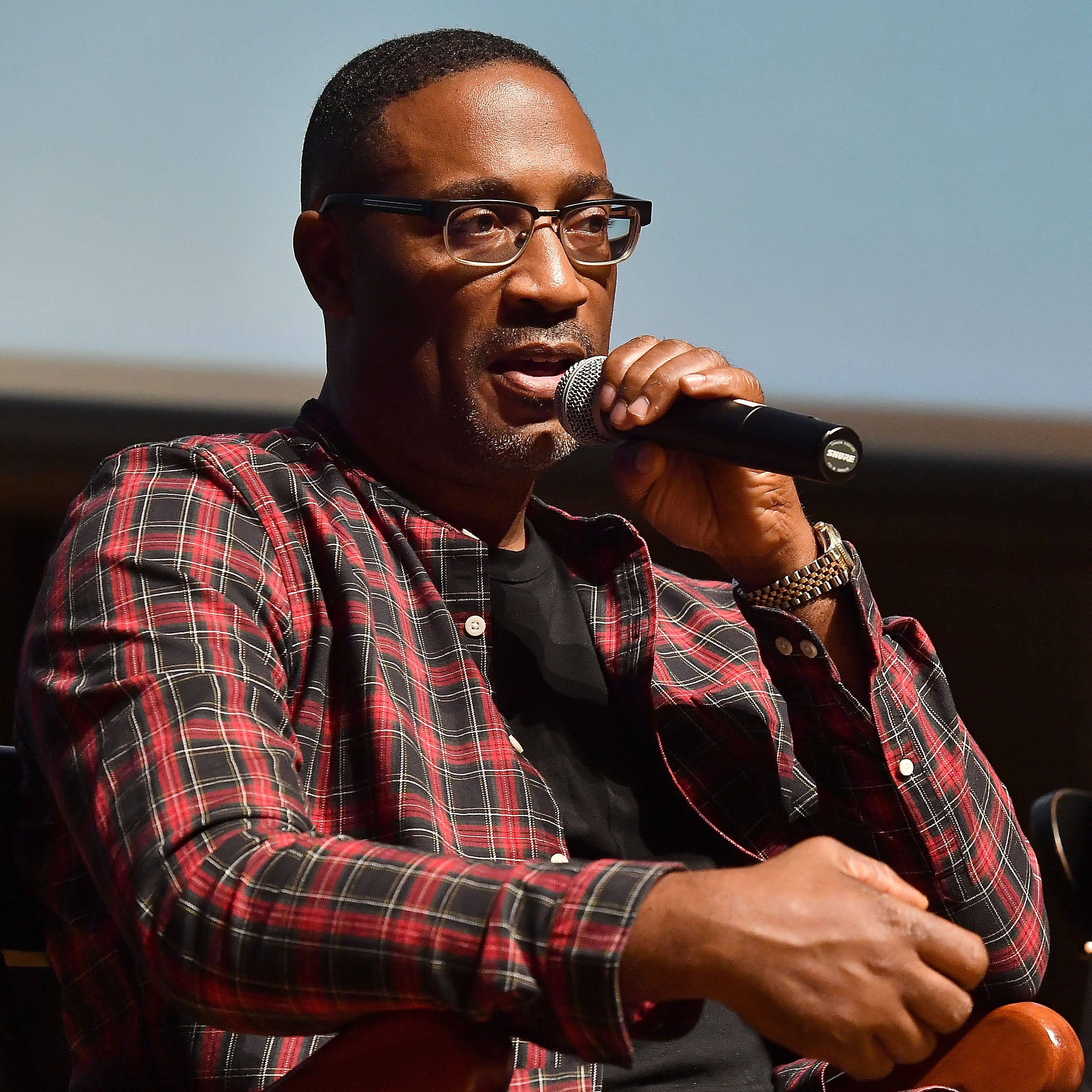 """Director and Milwaukee native George Tillman Jr., shown at a forum at Morehouse College on Oct. 4, took questions after a screening of his new movie """"The Hate U Give"""" at the Oriental Theatre in Milwaukee."""