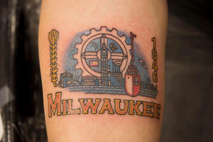 Tyler Maas got a tattoo of the official City of Milwaukee flag.