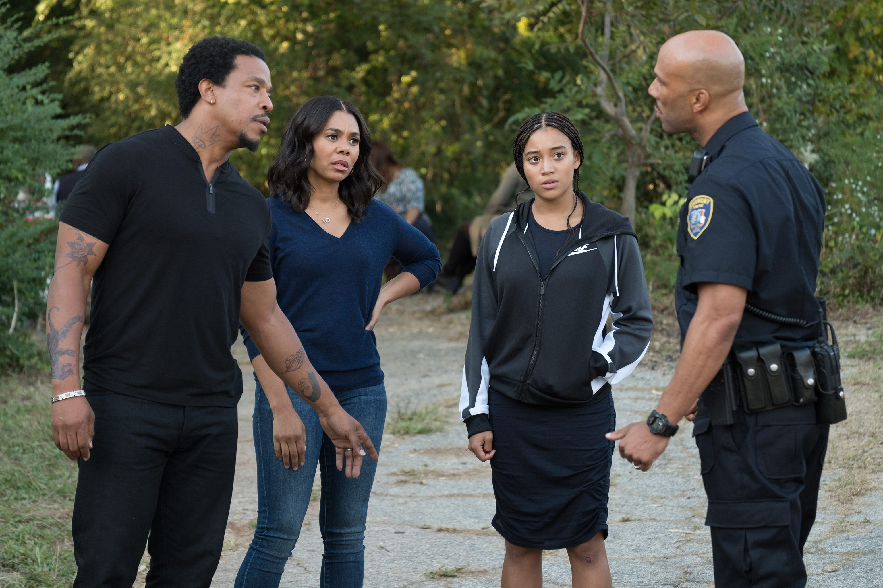 """Russell Hornsby (from left), Regina Hall, Amandla Stenberg and Common share a tense moment in George Tillman Jr.'s """"The Hate U Give."""""""