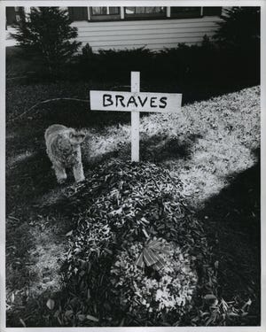 A cross marked a grave for the Braves in 1959 at the home of Frederick W. Rank in Shorewood. The grave symbolizes how the Dodgers buried the Braves in the National League pennant play-off. Rank's dog, Taffy, looked it over.
