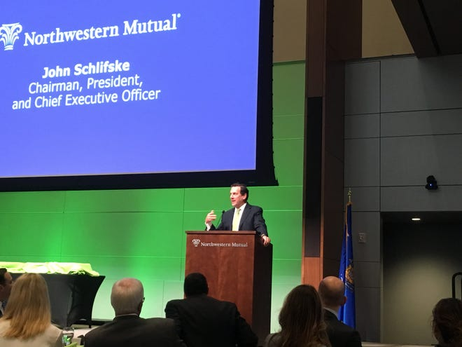 John Schlifske, chairman, president and CEO of Northwestern Mutual Life Insurance Co., addresses business leaders Wednesday at the annual Deloitte Wisconsin 75 breakfast in Milwaukee.