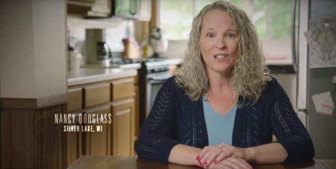 Nancy Douglass in the ad attacking Randy Bryce.