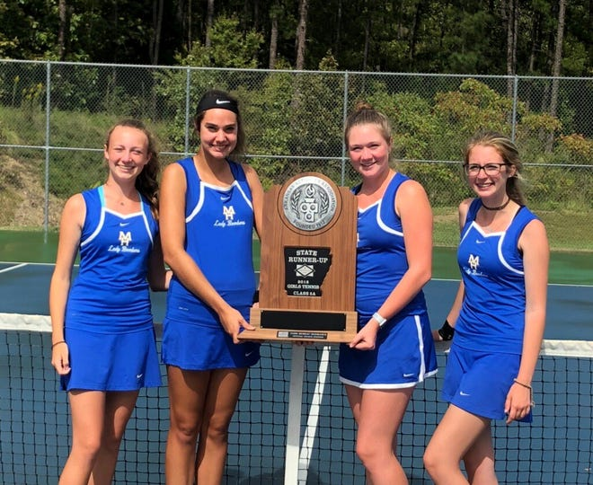 Lady Bombers who participated at the Class 5A State tennis tournament and finished as runner-ups are: (from left) Sarah Godfrey, Emily Heide, Meagan Beck and Micaela McLean.
