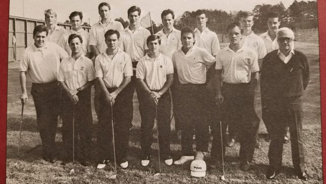 Wallace Jones (right) with members of the 1990 NLU golf team.