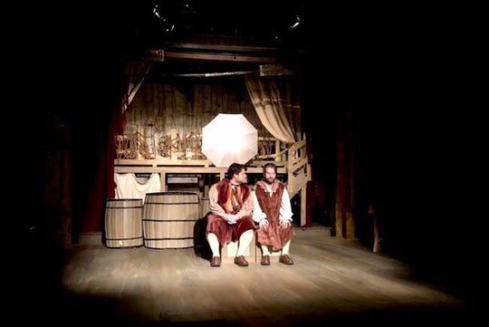 "Rosencrantz (Jacob Holmberg) and Guildenstern (Marcus Clement) during rehearsal for Cloverdale Playhouse's production of ""Rosencrantz & Guildenstern Are Dead."""