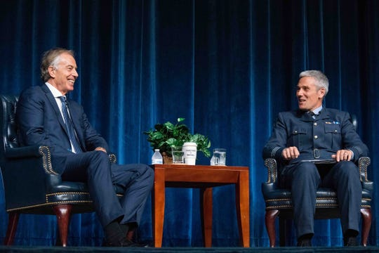 ormer British Prime Minister Tony Blair answers questions from Royal Air Force Wing Commander Jamie Meighan, Air Command and Staff College Department of Future Security Studies, during his visit to Air University Oct. 5, 2018, Maxwell Air Force Base, Ala.