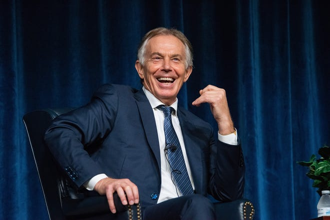 Former British Prime Minister Tony Blair answers questions from Royal Air Force Wing Commander Jamie Meighan, Air Command and Staff College Department of Future Security Studies, during his visit to Air University Oct. 5, 2018, Maxwell Air Force Base, Ala.