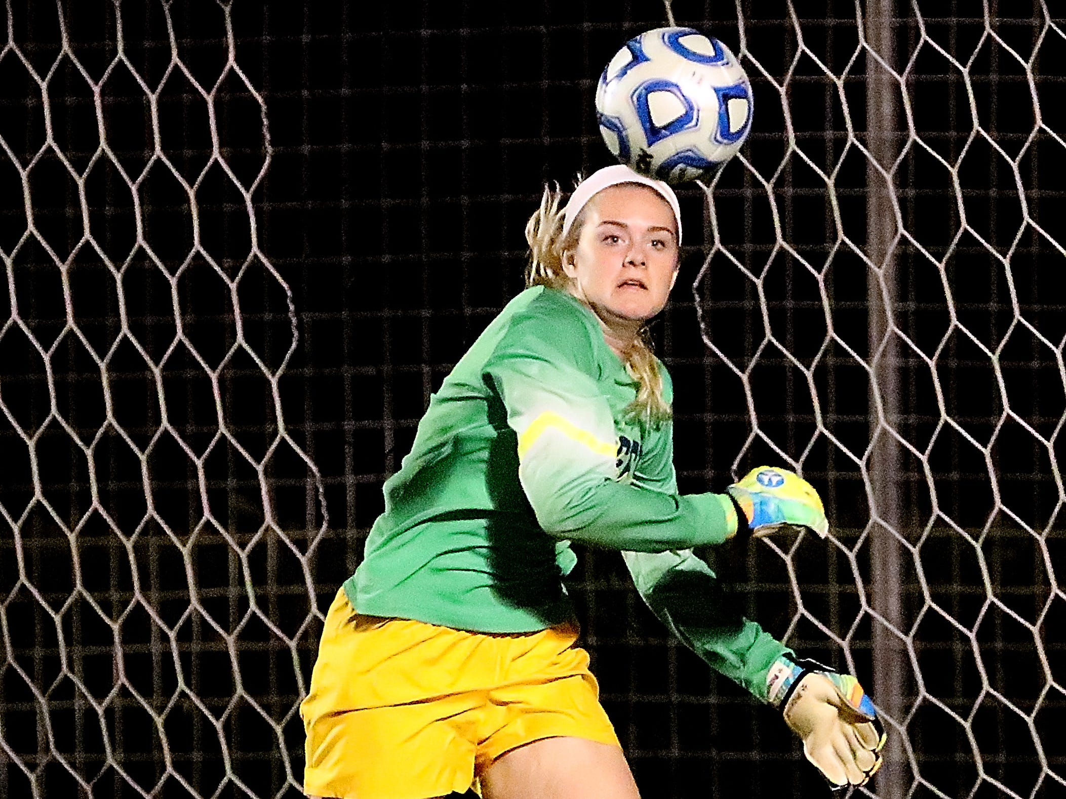 Siegel's keeper Courtney Donnelly (37) goes after a save in the semifinals 7-AAA Soccer Tournament against Oakland, on Tuesday,  Oct. 09, 2018 at the Siegel Soccer Complex.