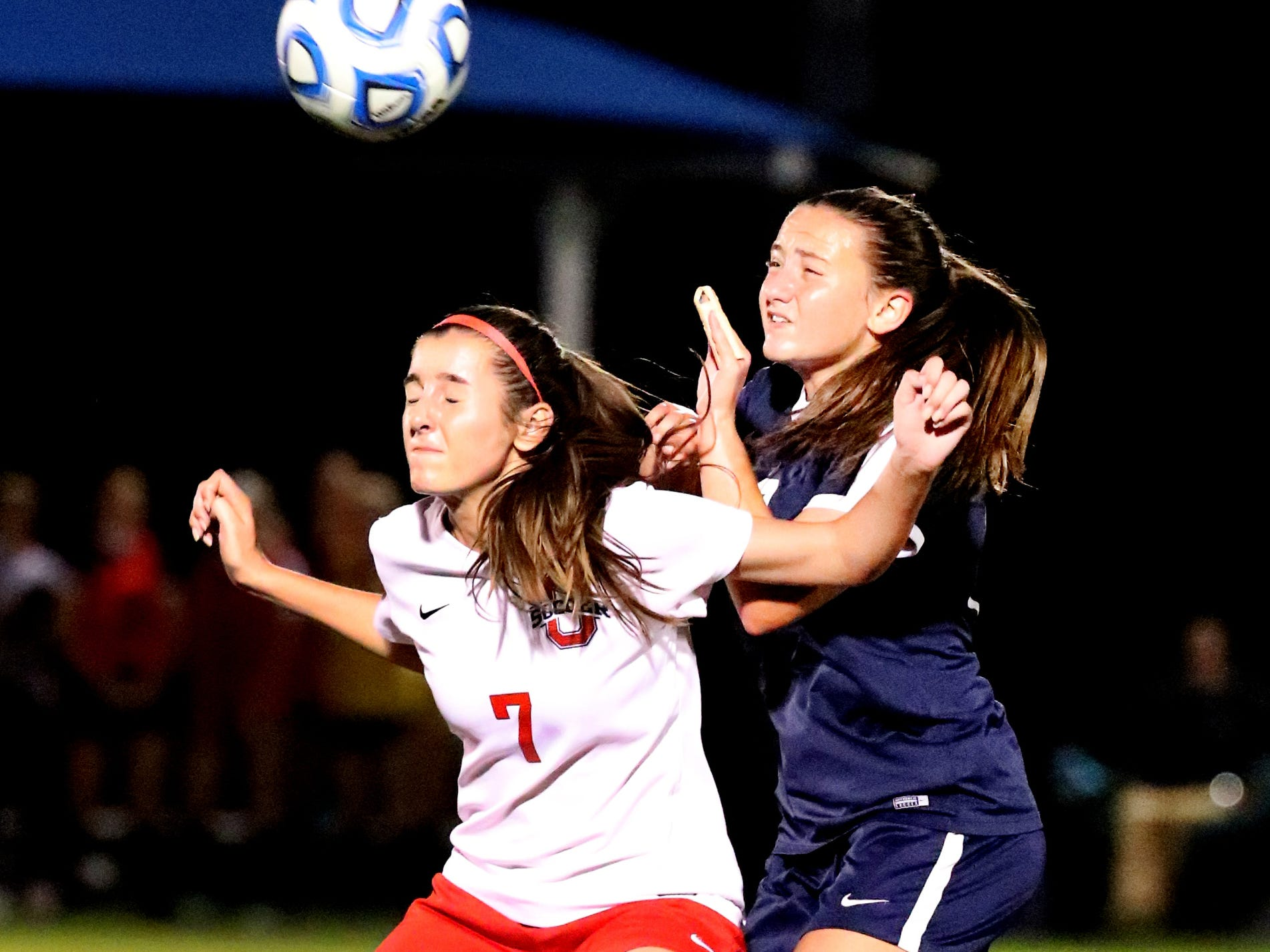 Oakland's Lainey Callis (7) and Siegel's Ashton Miller (20) go after the same ball in the semifinals of the 7-AAA Soccer Tournament, on Tuesday,  Oct. 09, 2018 at the Siegel Soccer Complex.