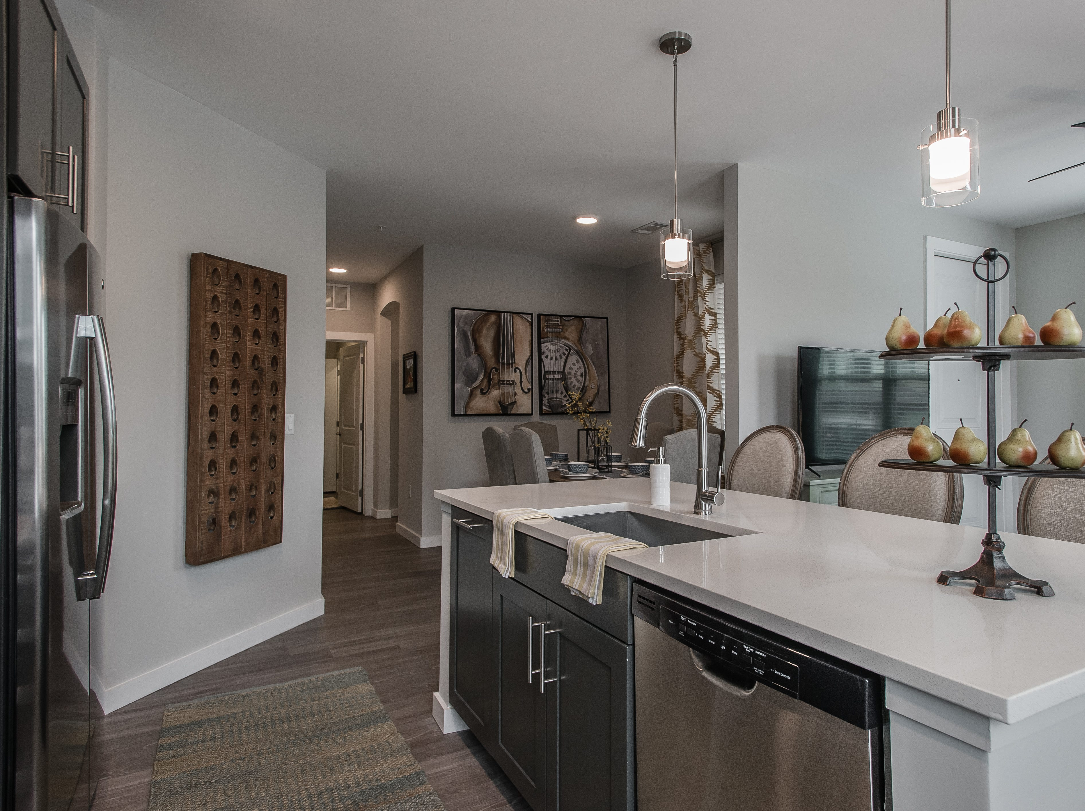 Granite or quartz countertops, open floor plans, hardwood-style flooring and Energy Star stainless appliances come with apartments at Novel Lockwood Glen.