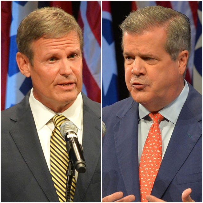 Republican Bill Lee, left, and Democrat Karl Dean are running for governor of Tennessee.