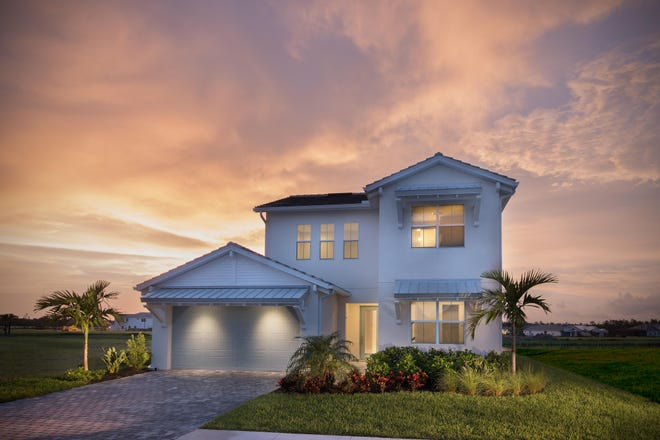 Azure at Hacienda Lakes is offering a two-story, 3,013-square-foot, move-in ready Massiano Caribbean featuring a gourmet kitchen, great room, and expanded covered lanai.