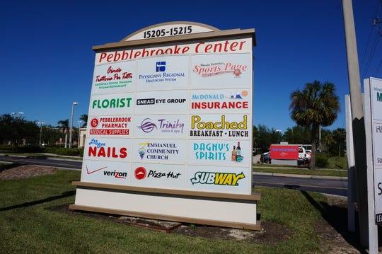 An entrance sign at Pebblebrooke Center in North Naples.