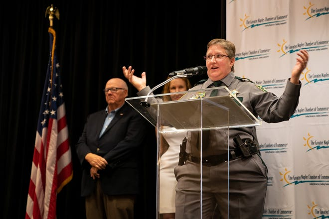 Sgt. Leslie Weidenhammer, 2018 Distinguished Public Service Awards Law Enforcement recipient, describes her call to duty after receiving her award at the Hilton Naples in Naples, Fla., on Wednesday, Oct. 10, 2018. The Distinguished Public Service Awards recognize the outstanding contribution by an individual or team to their respective public service profession and to the well-being of Collier County. The awards are presented annually by The Greater Naples Chamber of Commerce to honor first responders.