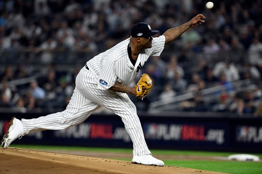 New York Yankees pitcher CC Sabathia throws to the Boston Red Sox in Game 4 of the American League Division Series on Tuesday, Oct. 9, 2018, in New York.