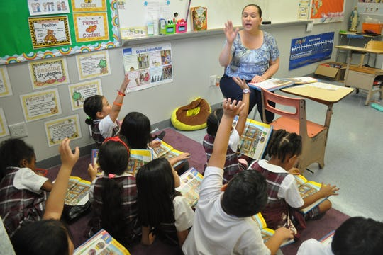 A first-grade class in Bergenfield.