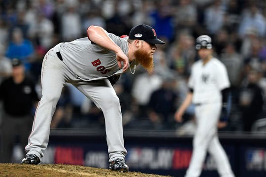 Boston Red Sox closer Craig Kimbrel throws against the New York Yankees in the ninth inning in Game 4 of the American League Division Series on Tuesday, Oct. 9, 2018, in New York.