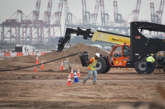 Workers are seen at the site of new Terminal One in Newark Liberty International Airport on 10/10/18.
