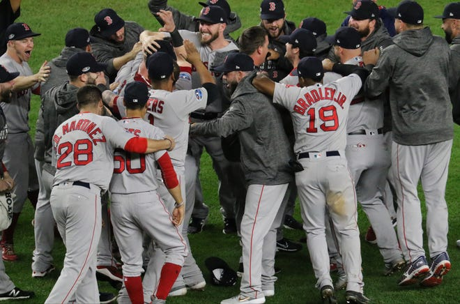 The Red Sox celebrate their victory over the Yankees in the ALDS. Tuesday, October 9, 2018