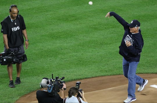 Former Yankee, Bucky Dent throws out the first pitch of Game 4 of the ALDS. Tuesday, October 9, 2018