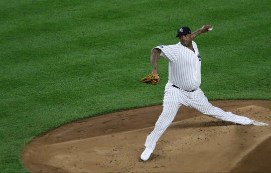 CC Sabathia pitches for the Yankees in the first inning. Tuesday, October 9, 2018