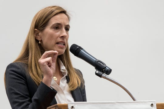 Democratic congressional candidate Mikie Sherrill speaks during a candidate forum at the UJC of MetroWest New Jersey, Tuesday, Oct. 9, 2018, in Whippany, N.J. (AP Photo/Mary Altaffer)