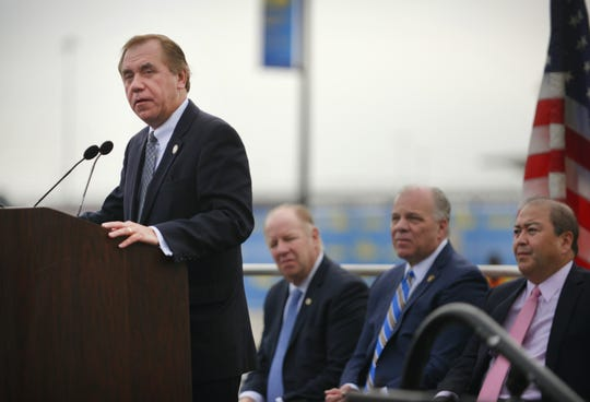 Assembly Speaker Craig Coughlin speaks during a press conference prior to the groundbreaking ceremony at the site of new Terminal One in Newark Liberty International Airport on 10/10/18.