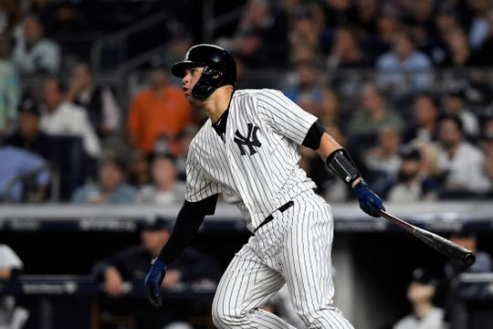 New York Yankees' Gary Sanchez connects for a double in Game 4 of the American League Division Series on Tuesday, Oct. 9, 2018, in New York.