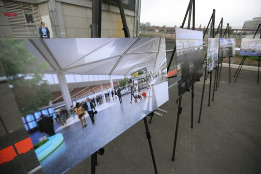 Rendering images of the new Terminal One are displayed during a press conference prior to the groundbreaking ceremony at the site of new Terminal One in Newark Liberty International Airport on 10/10/18.