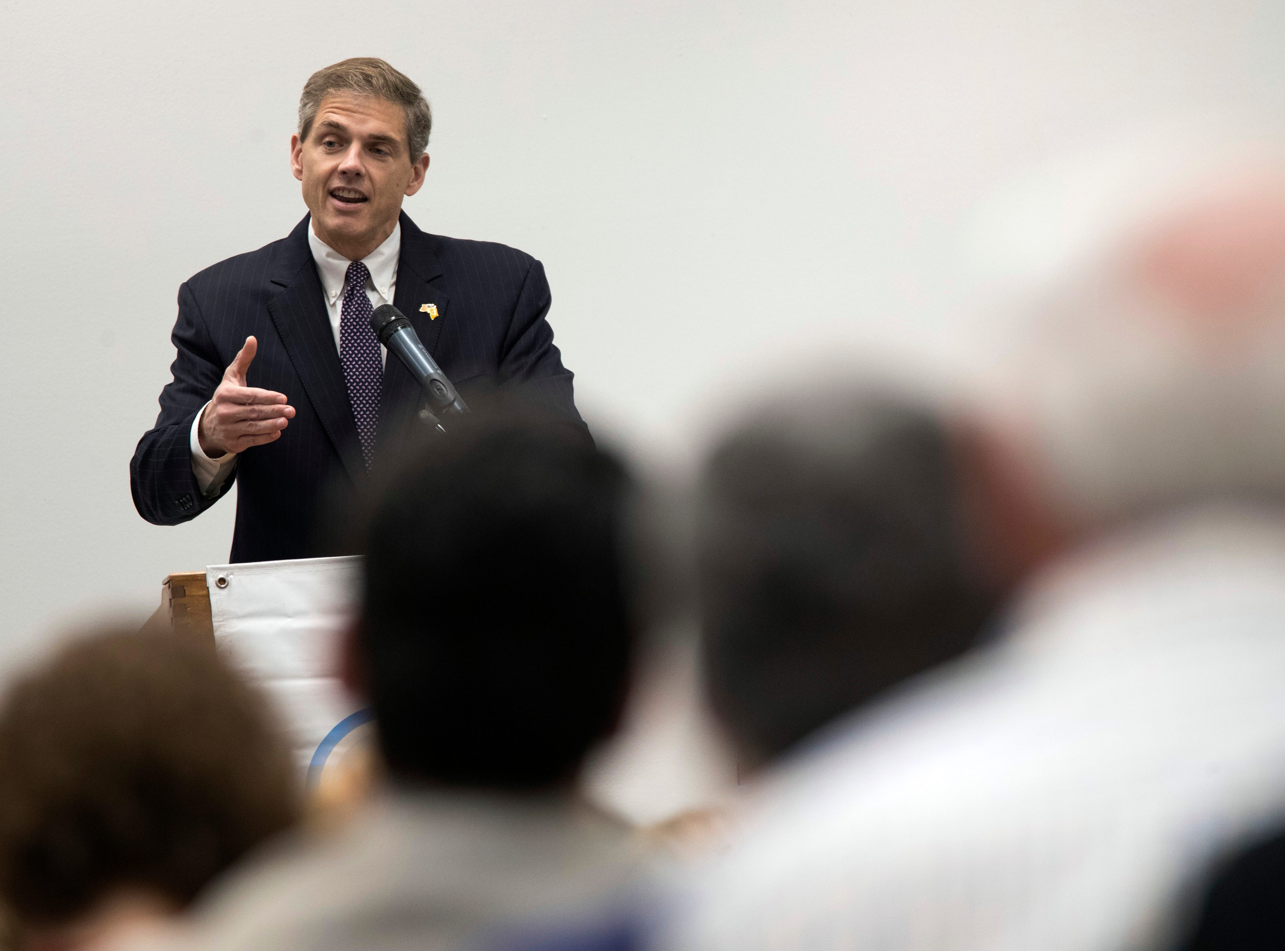 Republican Assemblyman Jay Webber speaks during a candidate forum at the UJC of MetroWest New Jersey, Tuesday, Oct. 9, 2018, in Whippany, N.J. (AP Photo/Mary Altaffer)